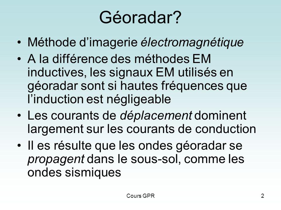 Cours GPR2 Géoradar? Méthode dimagerie électromagnétique A la différence des méthodes EM inductives, les signaux EM utilisés en géoradar sont si haute
