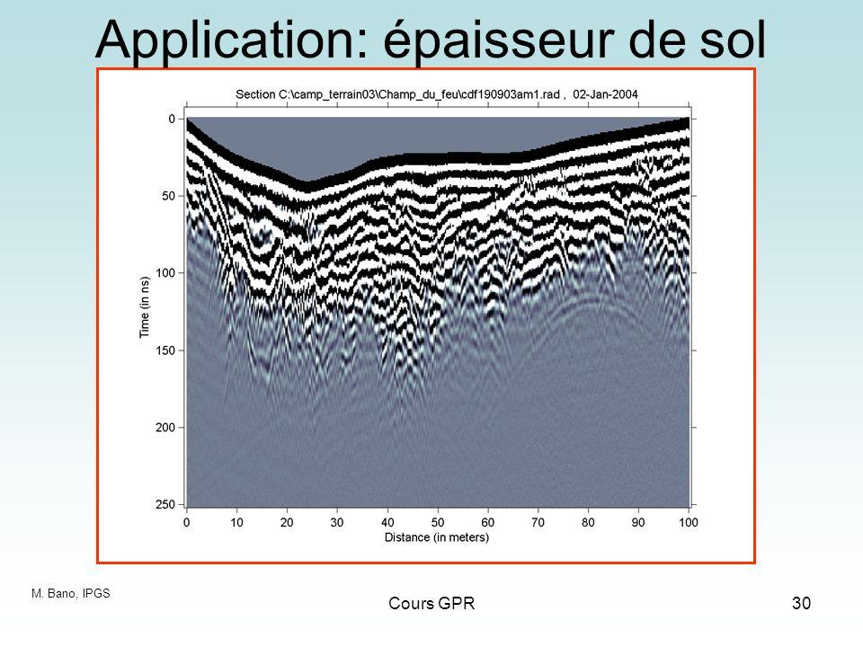 Cours GPR30 Application: épaisseur de sol M. Bano, IPGS