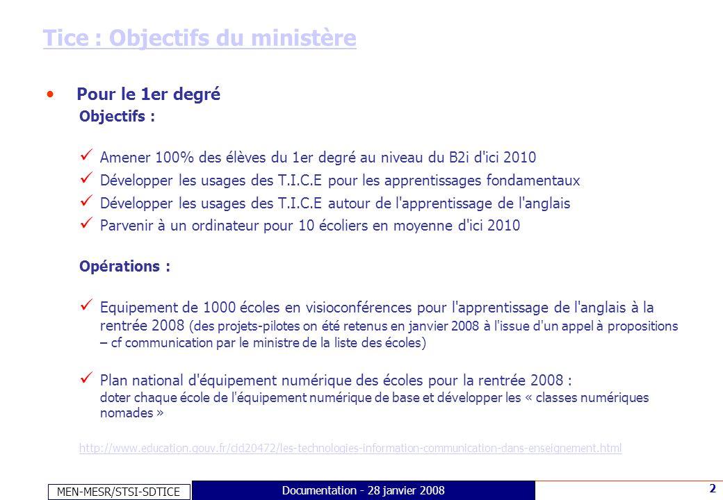 MEN-MESR/STSI-SDTICE 2 Documentation - 28 janvier 2008 Tice : Objectifs du ministère Pour le 1er degré Objectifs : Amener 100% des élèves du 1er degré