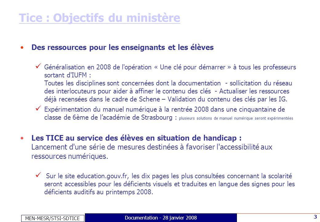 MEN-MESR/STSI-SDTICE 3 Documentation - 28 janvier 2008 Tice : Objectifs du ministère Des ressources pour les enseignants et les élèves Généralisation