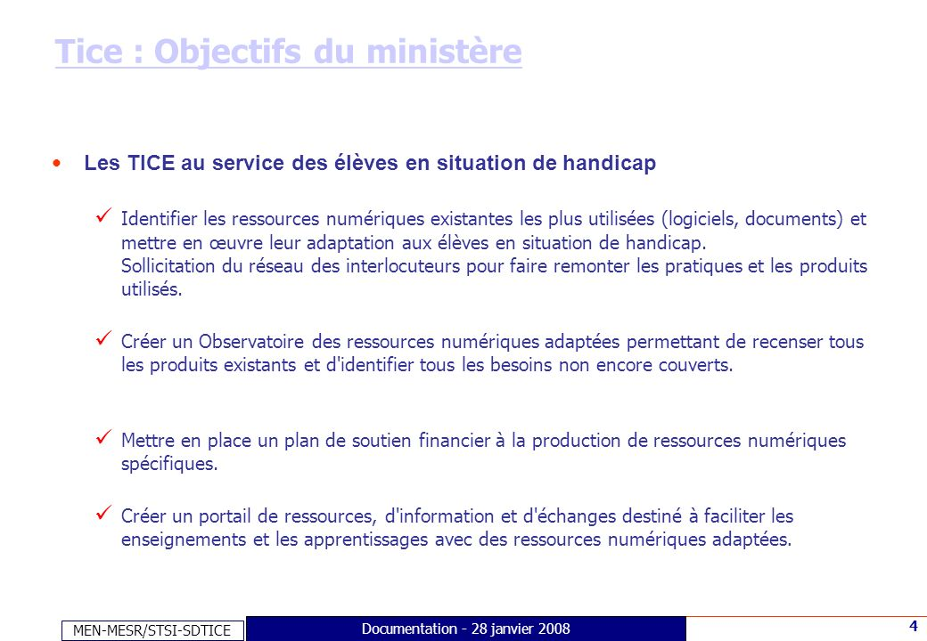 MEN-MESR/STSI-SDTICE 15 Documentation - 28 janvier 2008 Faire connaître… Edubases Documentation Total visites Edubases 2007 : 39 006 -Total pages vues Edubases : 143 140
