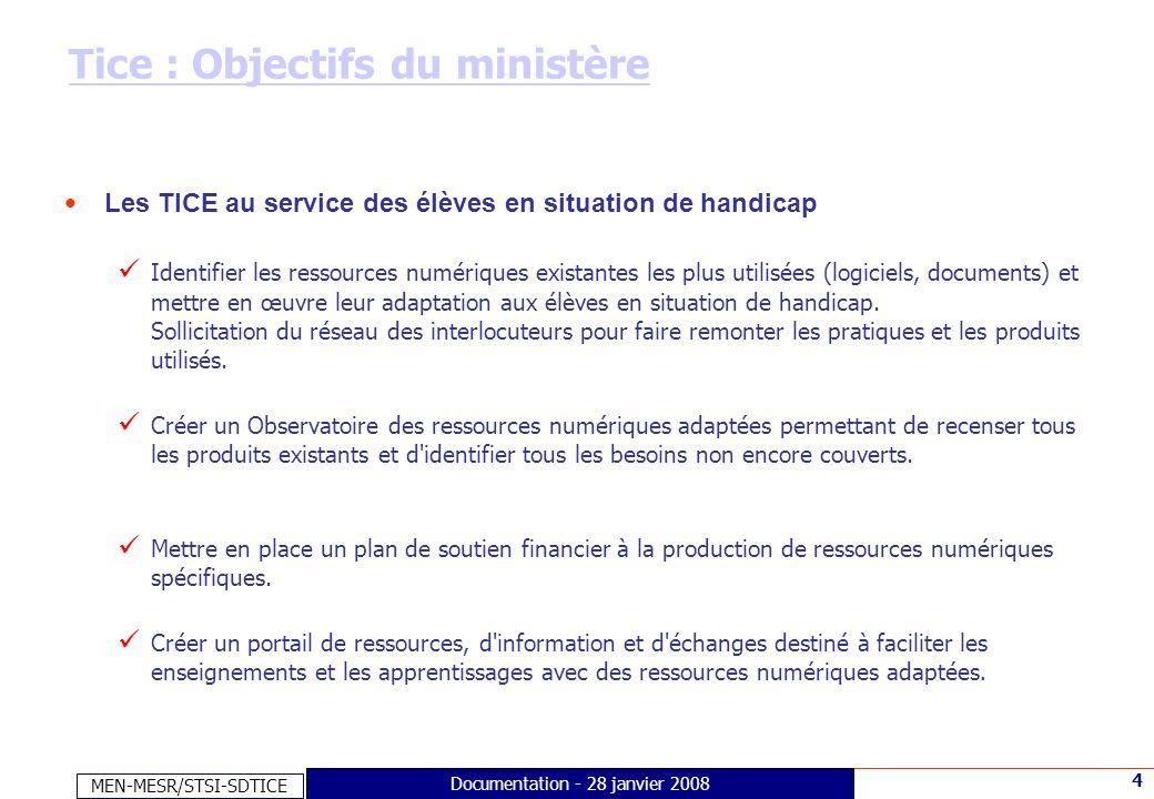 MEN-MESR/STSI-SDTICE 4 Documentation - 28 janvier 2008 Tice : Objectifs du ministère Les TICE au service des élèves en situation de handicap Identifie