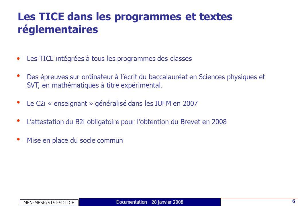 MEN-MESR/STSI-SDTICE 6 Documentation - 28 janvier 2008 Les TICE dans les programmes et textes réglementaires Les TICE intégrées à tous les programmes