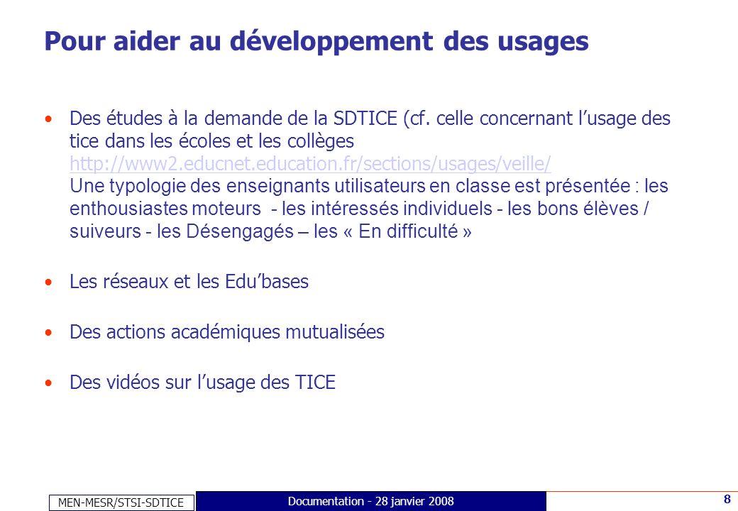 MEN-MESR/STSI-SDTICE 8 Documentation - 28 janvier 2008 Pour aider au développement des usages Des études à la demande de la SDTICE (cf. celle concerna