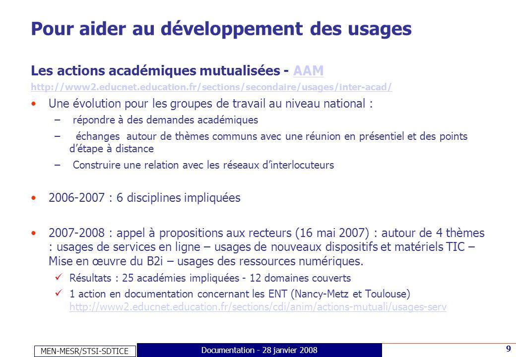 MEN-MESR/STSI-SDTICE 9 Documentation - 28 janvier 2008 Pour aider au développement des usages Les actions académiques mutualisées - AAMAAM http://www2