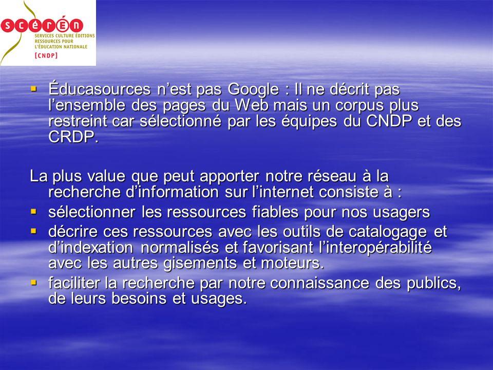 Éducasources nest pas Google : Il ne décrit pas lensemble des pages du Web mais un corpus plus restreint car sélectionné par les équipes du CNDP et des CRDP.