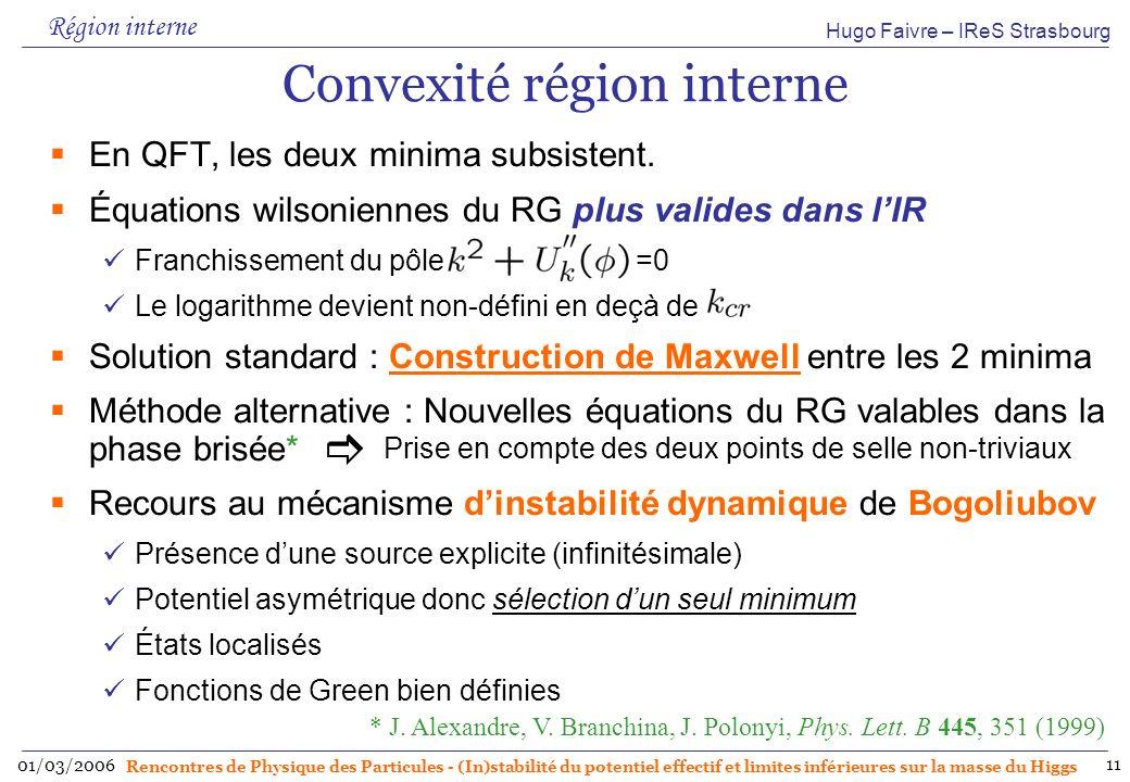 Hugo Faivre – IReS Strasbourg 01/03/2006 Rencontres de Physique des Particules - (In)stabilité du potentiel effectif et limites inférieures sur la masse du Higgs 11 Convexité région interne En QFT, les deux minima subsistent.
