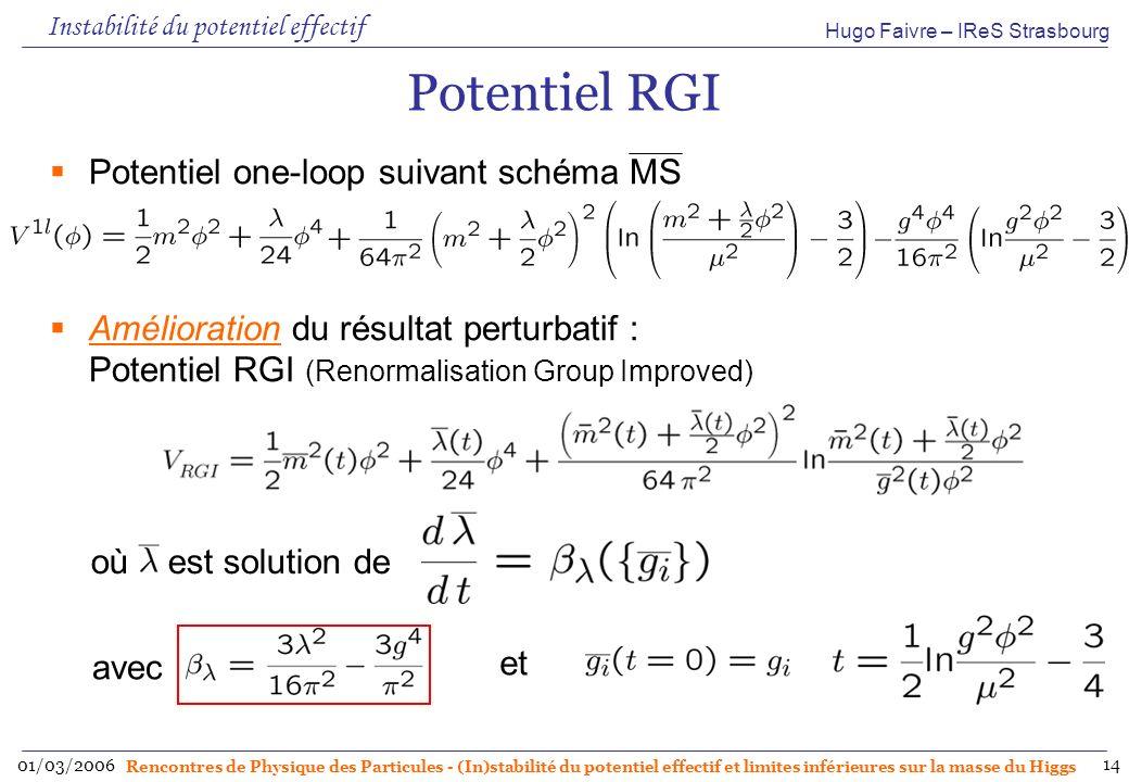 Hugo Faivre – IReS Strasbourg 01/03/2006 Rencontres de Physique des Particules - (In)stabilité du potentiel effectif et limites inférieures sur la masse du Higgs 14 Potentiel RGI Potentiel one-loop suivant schéma MS Amélioration du résultat perturbatif : Potentiel RGI (Renormalisation Group Improved) où est solution de avec et Instabilité du potentiel effectif