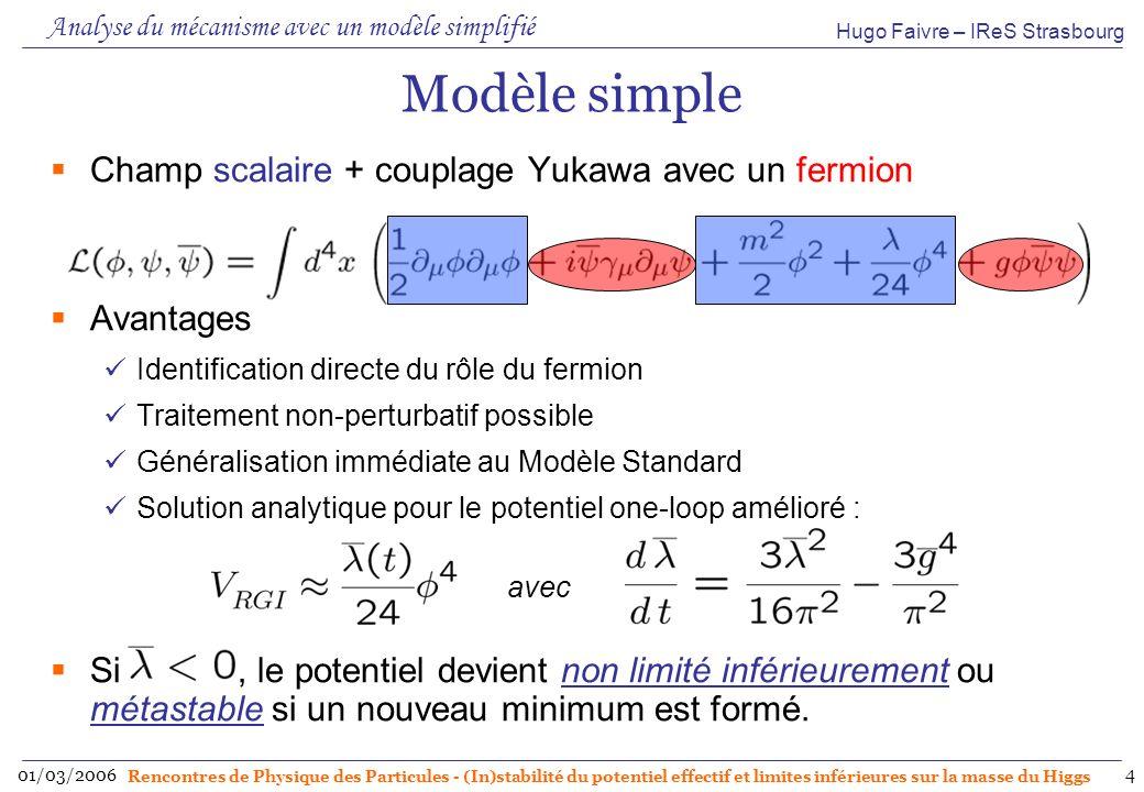 Hugo Faivre – IReS Strasbourg 01/03/2006 Rencontres de Physique des Particules - (In)stabilité du potentiel effectif et limites inférieures sur la masse du Higgs 5 Discussion Simplifions la discussion en restant au niveau one-loop : La notion de groupe de renormalisation indique que le potentiel est invariant déchelle : les deux expressions sont donc identiques (dans la limite de lapproximation envisagée).