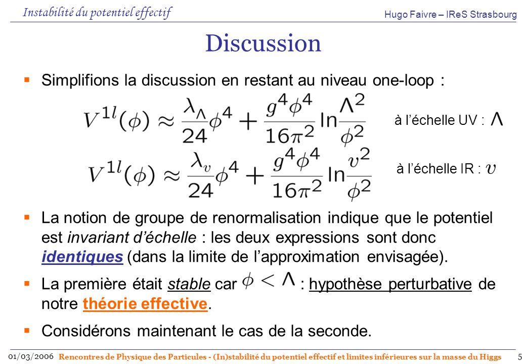 Hugo Faivre – IReS Strasbourg 01/03/2006 Rencontres de Physique des Particules - (In)stabilité du potentiel effectif et limites inférieures sur la masse du Higgs 6 Explication Choisissons Φ, λ et g tel quils respectent les conditions de perturbativité : on trouve que linstabilité semble se produire dans le domaine de validité de la théorie des perturbations.