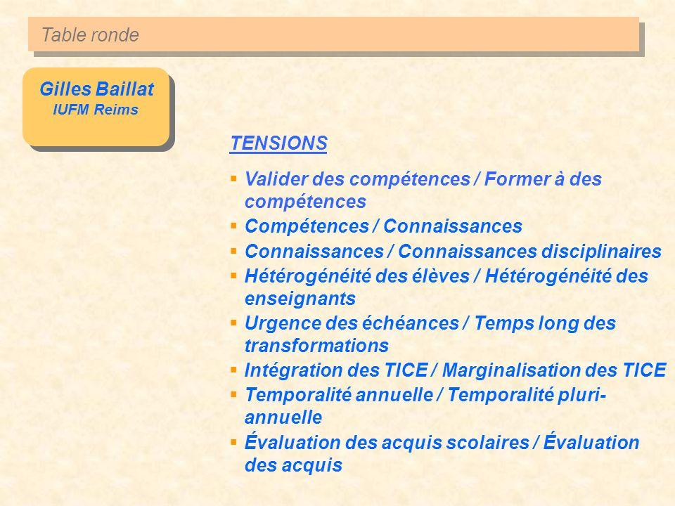 Gilles Baillat IUFM Reims Gilles Baillat IUFM Reims TENSIONS Valider des compétences / Former à des compétences Compétences / Connaissances Connaissan