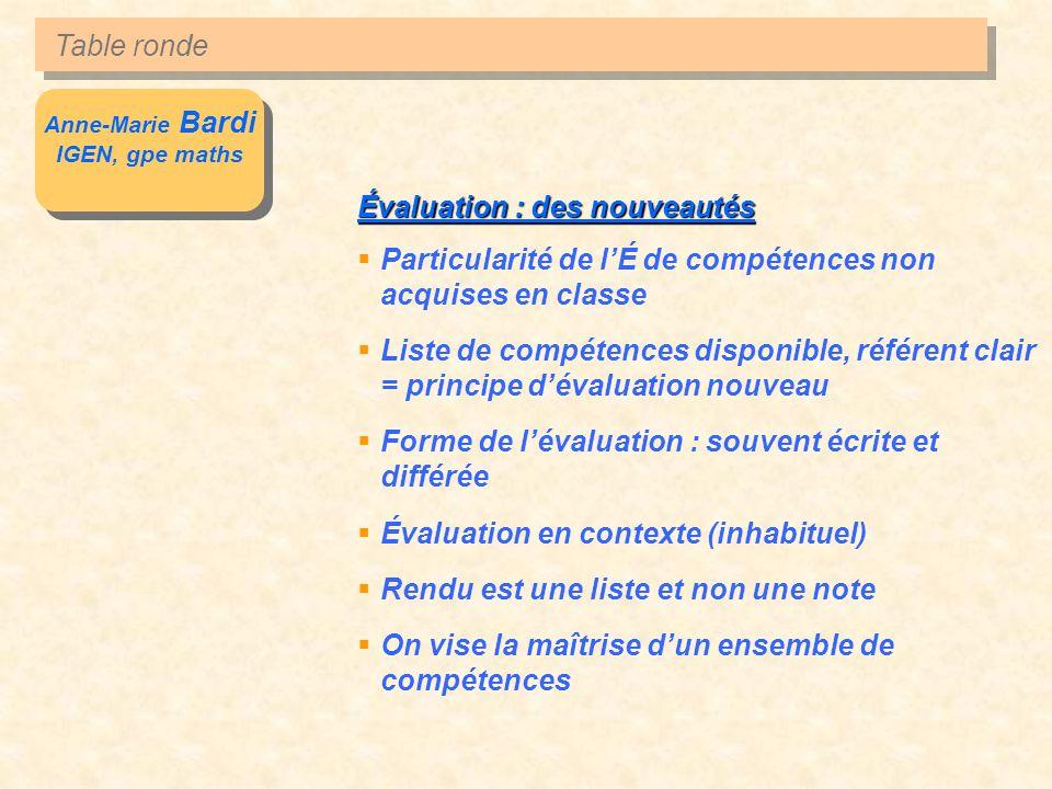 Anne-Marie Bardi IGEN, gpe maths Anne-Marie Bardi IGEN, gpe maths Évaluation : des nouveautés Particularité de lÉ de compétences non acquises en class