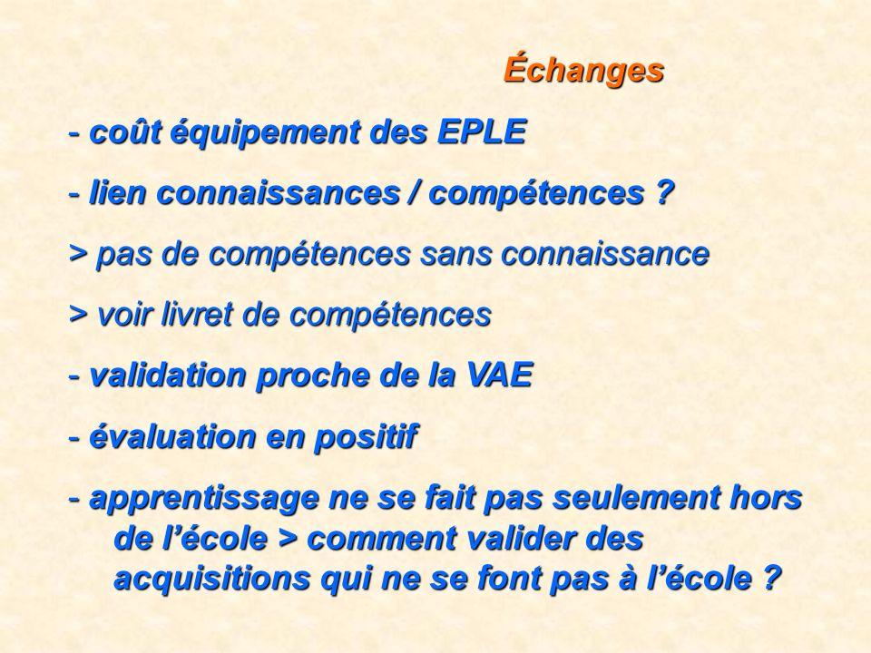 Échanges Échanges - coût équipement des EPLE - lien connaissances / compétences ? > pas de compétences sans connaissance > voir livret de compétences