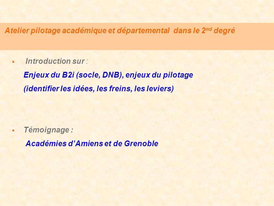 Atelier pilotage académique et départemental dans le 2 nd degré Introduction sur : Enjeux du B2i (socle, DNB), enjeux du pilotage (identifier les idée