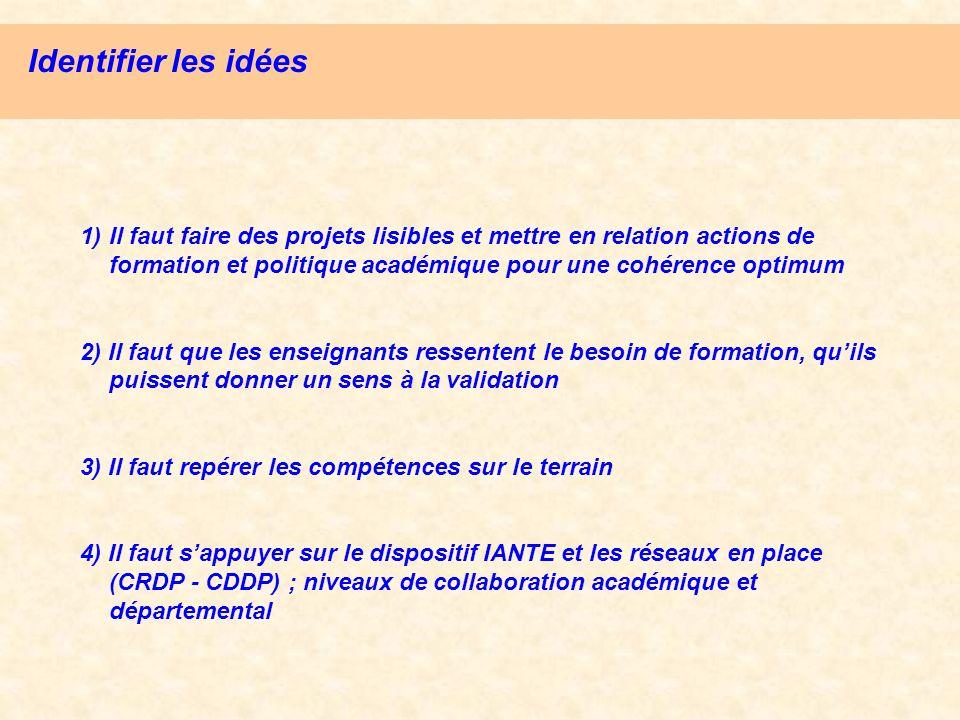 Identifier les idées 1) Il faut faire des projets lisibles et mettre en relation actions de formation et politique académique pour une cohérence optim