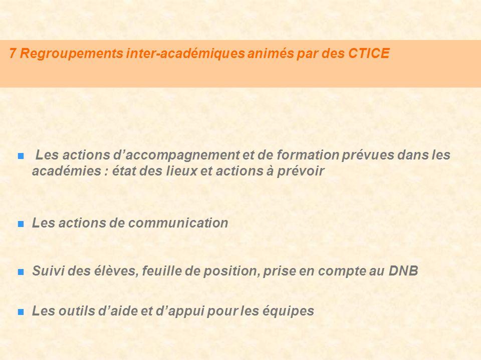 7 Regroupements inter-académiques animés par des CTICE Les actions daccompagnement et de formation prévues dans les académies : état des lieux et acti