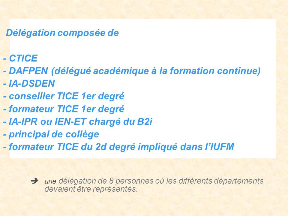 Délégation composée de - CTICE - DAFPEN (délégué académique à la formation continue) - IA-DSDEN - conseiller TICE 1er degré - formateur TICE 1er degré