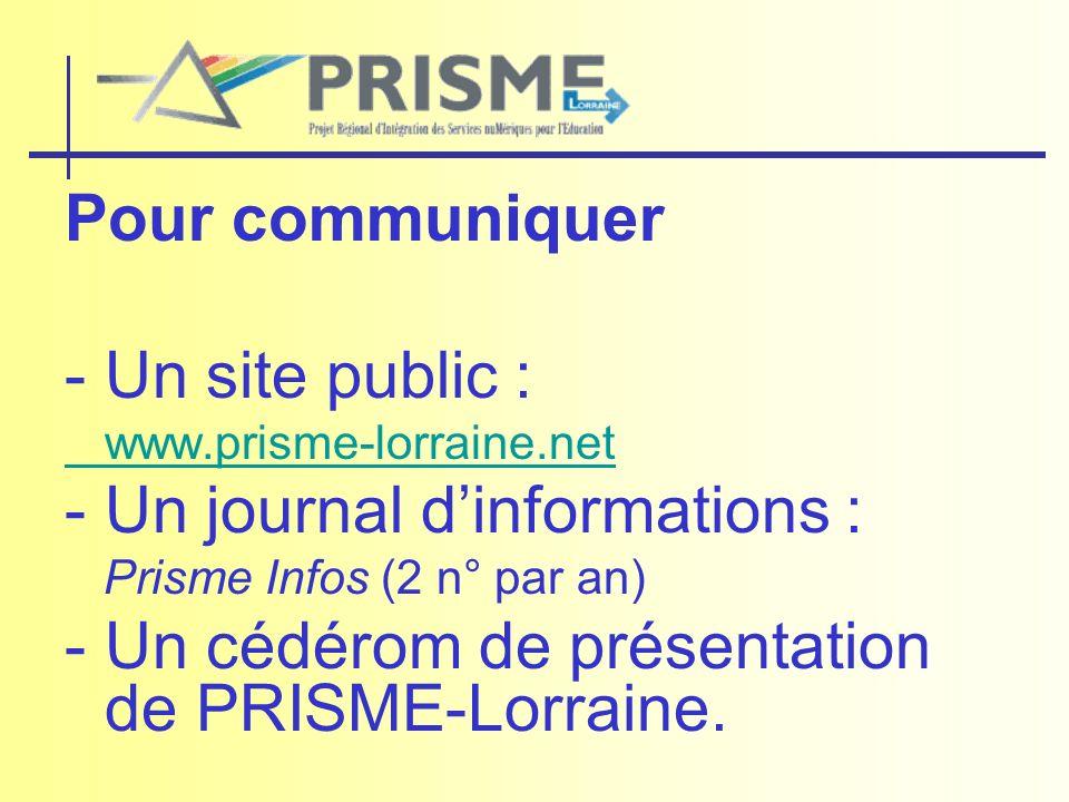 Pour communiquer - Un site public : www.prisme-lorraine.net - Un journal dinformations : Prisme Infos (2 n° par an) - Un cédérom de présentation de PR