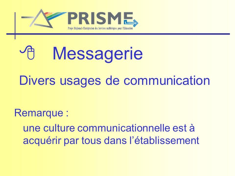 Messagerie Divers usages de communication Remarque : une culture communicationnelle est à acquérir par tous dans létablissement