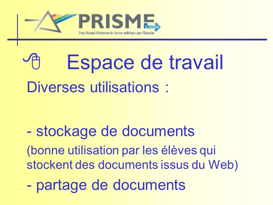 Espace de travail Diverses utilisations : - stockage de documents (bonne utilisation par les élèves qui stockent des documents issus du Web) - partage