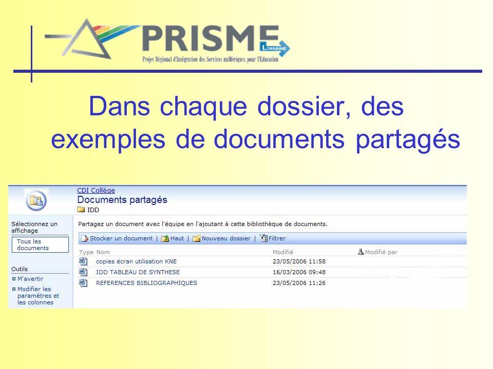 Dans chaque dossier, des exemples de documents partagés