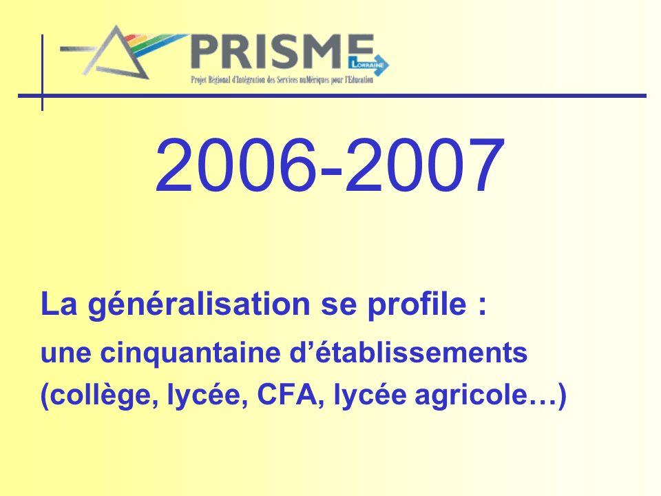 2006-2007 La généralisation se profile : une cinquantaine détablissements (collège, lycée, CFA, lycée agricole…)
