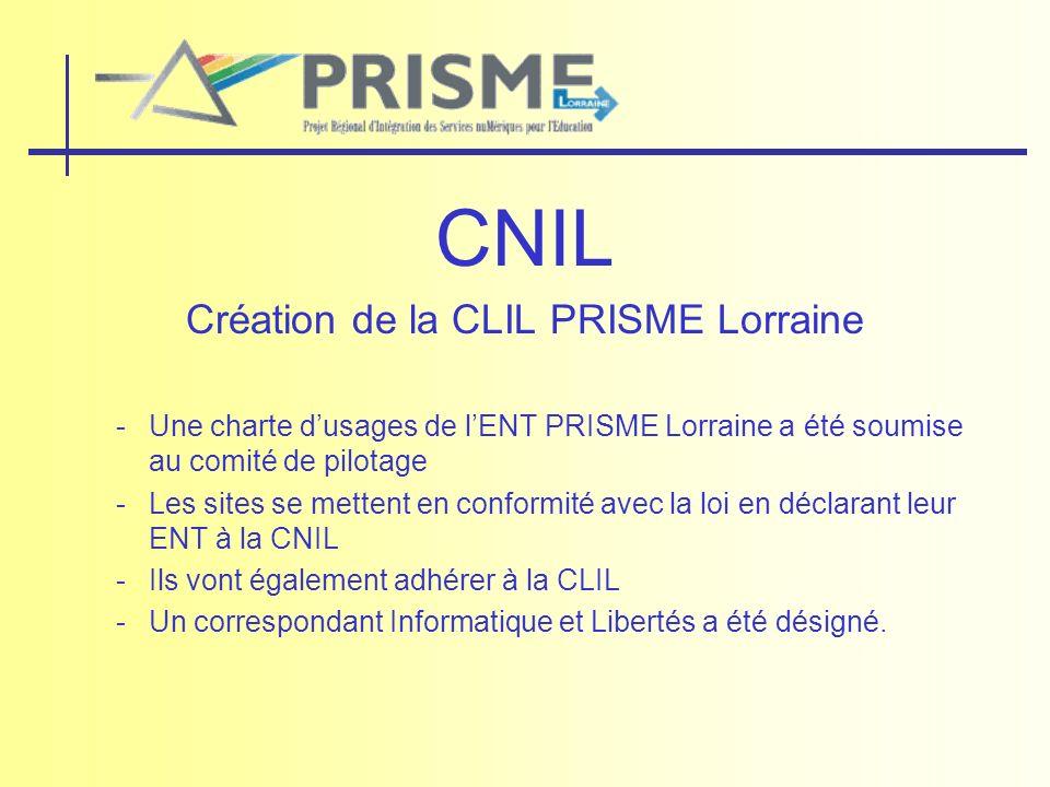 CNIL Création de la CLIL PRISME Lorraine -Une charte dusages de lENT PRISME Lorraine a été soumise au comité de pilotage -Les sites se mettent en conf