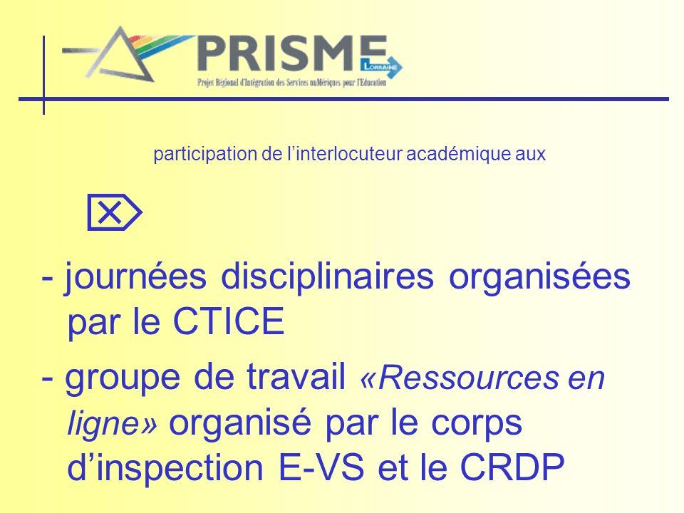 participation de linterlocuteur académique aux - journées disciplinaires organisées par le CTICE - groupe de travail «Ressources en ligne» organisé pa
