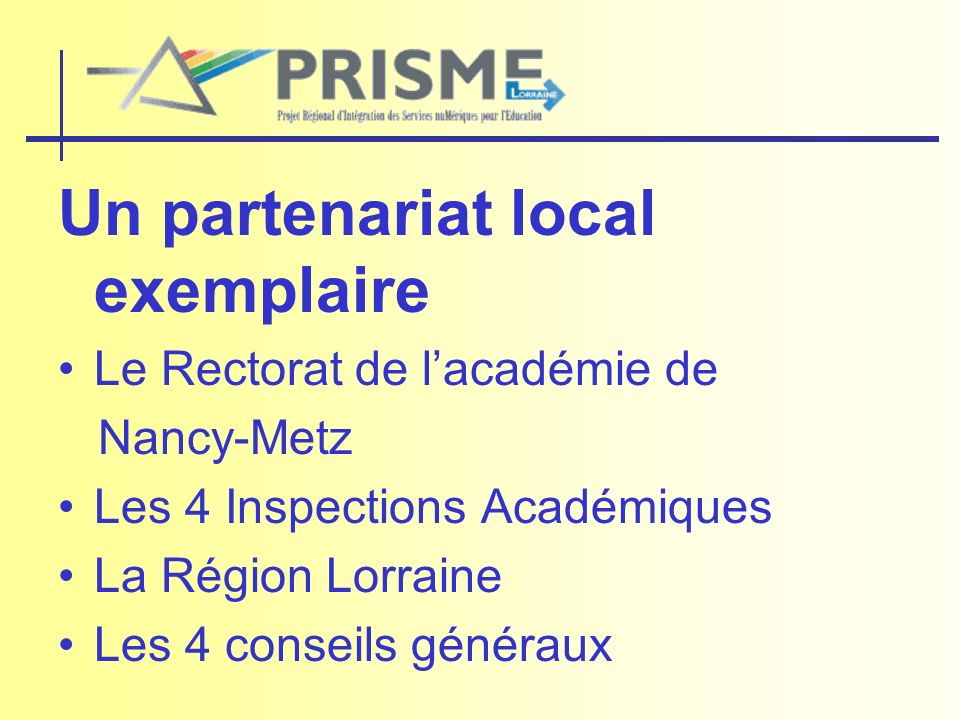 Un partenariat local exemplaire Le Rectorat de lacadémie de Nancy-Metz Les 4 Inspections Académiques La Région Lorraine Les 4 conseils généraux