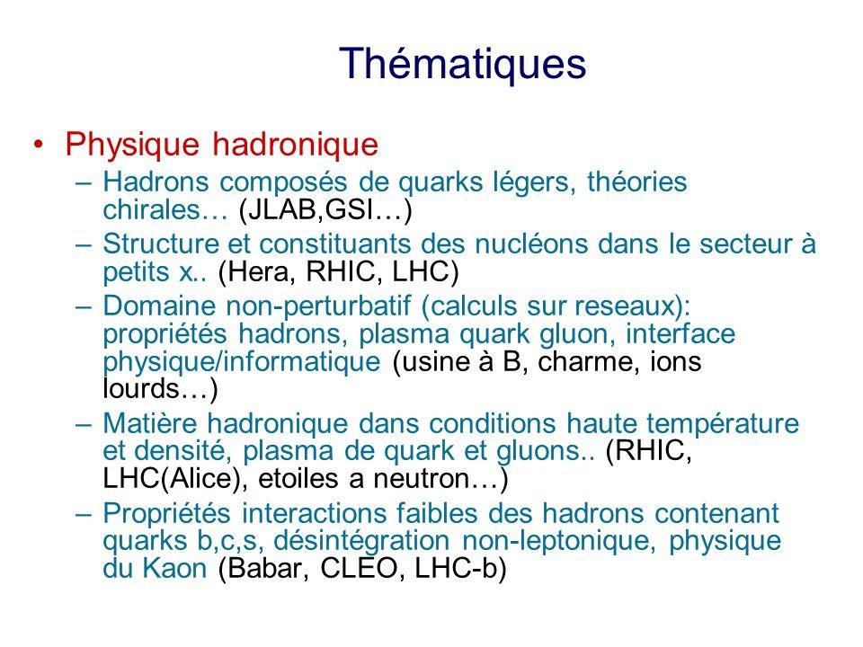 Physique hadronique –Hadrons composés de quarks légers, théories chirales… (JLAB,GSI…) –Structure et constituants des nucléons dans le secteur à petits x..