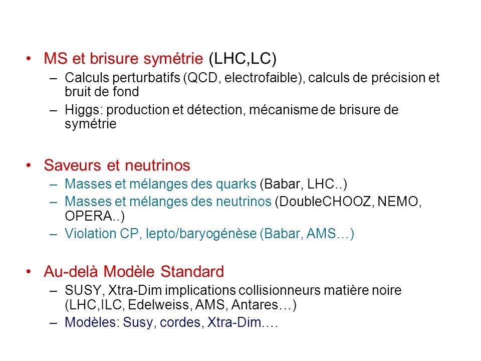MS et brisure symétrie (LHC,LC) –Calculs perturbatifs (QCD, electrofaible), calculs de précision et bruit de fond –Higgs: production et détection, mécanisme de brisure de symétrie Saveurs et neutrinos –Masses et mélanges des quarks (Babar, LHC..) –Masses et mélanges des neutrinos (DoubleCHOOZ, NEMO, OPERA..) –Violation CP, lepto/baryogénèse (Babar, AMS…) Au-delà Modèle Standard –SUSY, Xtra-Dim implications collisionneurs matière noire (LHC,ILC, Edelweiss, AMS, Antares…) –Modèles: Susy, cordes, Xtra-Dim….