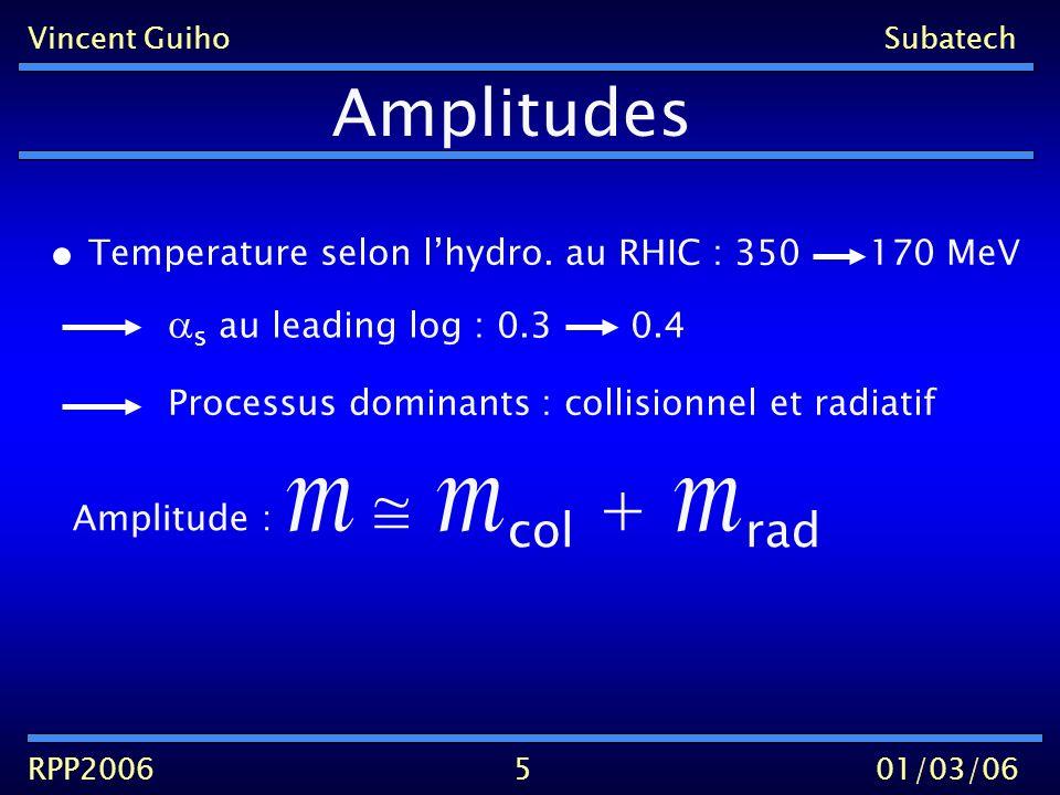 Vincent GuihoSubatech RPP200601/03/06 collisionnel 6 col = q col + g col q col g col q Q g Q ++ (s) (t)(u) Calcules par Combridge 79