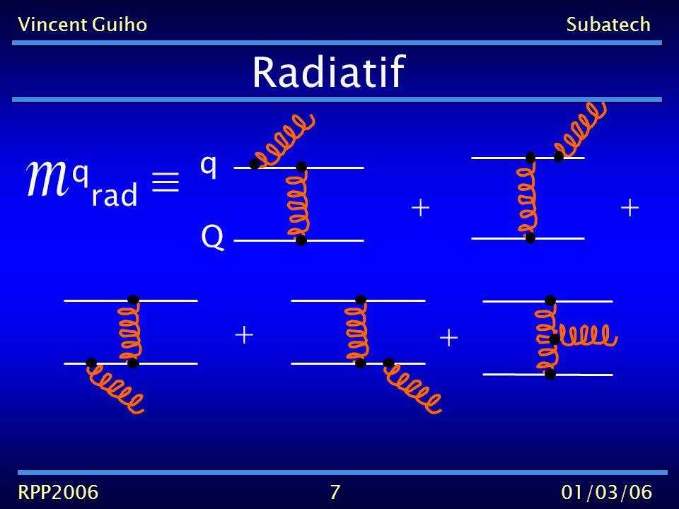 Vincent GuihoSubatech RPP200601/03/06 Gunion & Bertsch 82 8 q rad q(E) q + + + k l << E k << l g( ) Gluons mous Gunion&Bertsch << E k ~ l