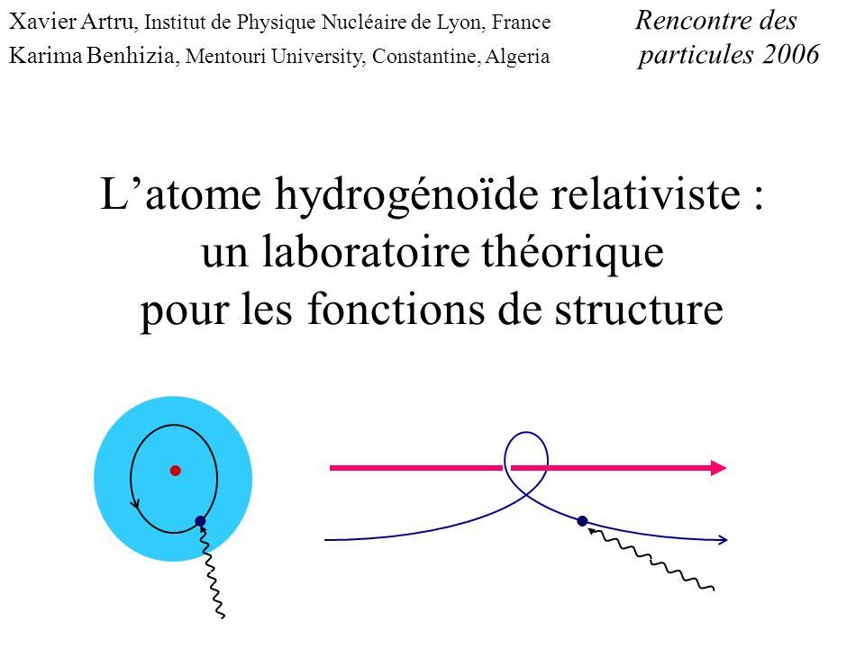 Cadre théorique Physique atomique, QED Z grand (uranium,…) : Z ~ 1 état lié relativiste Equation de Dirac fonction donde exacte On néglige : les interactions e - - e - le recul du noyau : M N >> m e le spin du noyau le Lamb shift : (Z ) 4 << 1