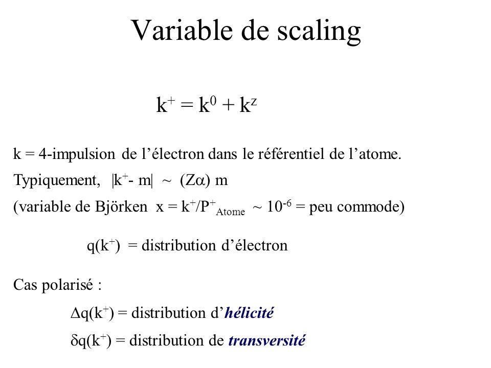 Variable de scaling k + = k 0 + k z k = 4-impulsion de lélectron dans le référentiel de latome. Typiquement, |k + - m| ~ (Z ) m (variable de Björken x