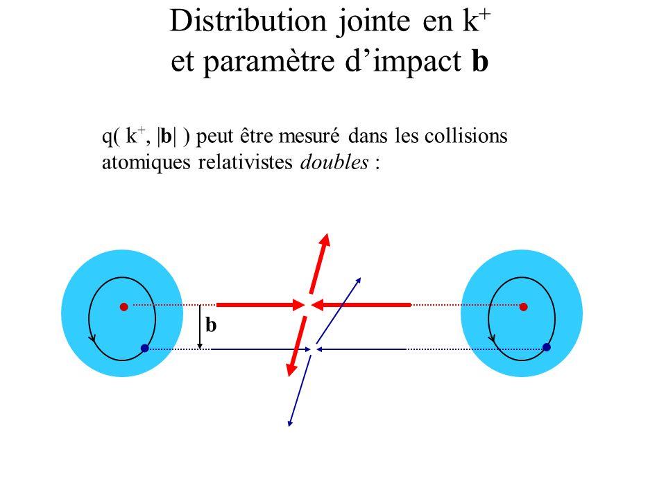 Distribution jointe en k + et k T q( k +, | k T | ) peut être mesuré dans les réactions semi-inclusives : e-e- k T intrinsèque est ambigu (jauge, non-commutation avec k + ) On peut définir un k T expérimental: k T k T p T = P T (noyau) sensible à linteraction coulombienne noyau-e final (Compton) ou noyau-e + initial (annihilation)