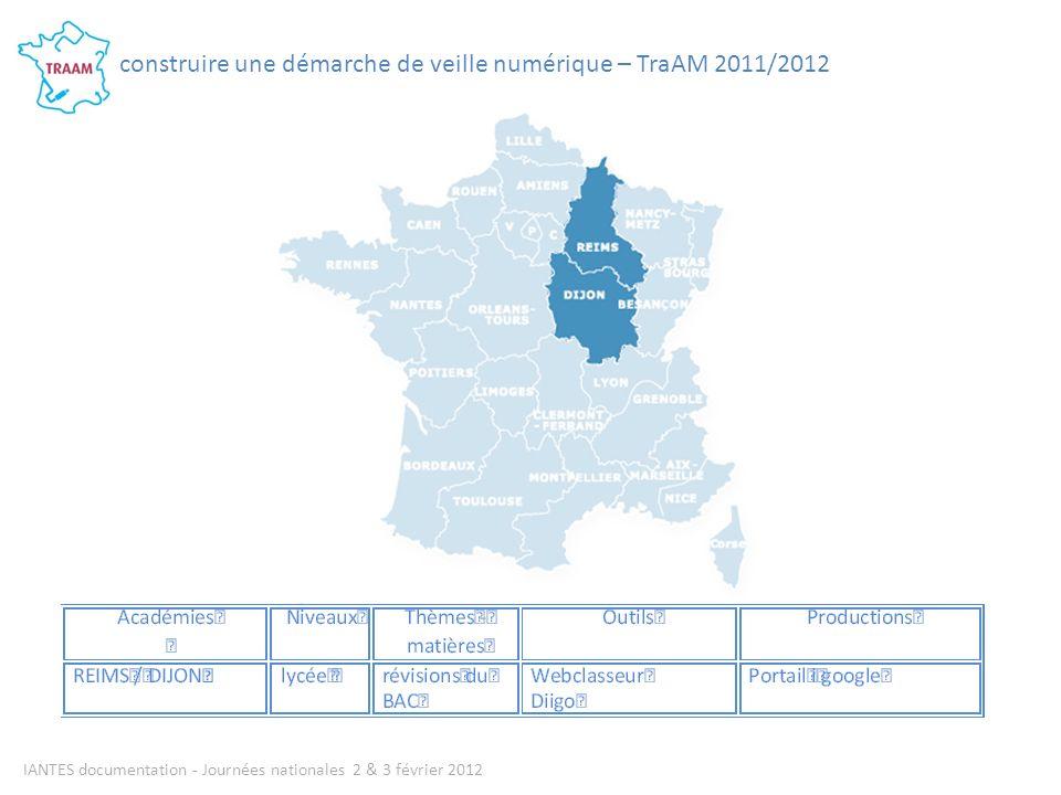 IANTES documentation - Journées nationales 2 & 3 février 2012 construire une démarche de veille numérique – TraAM 2011/2012