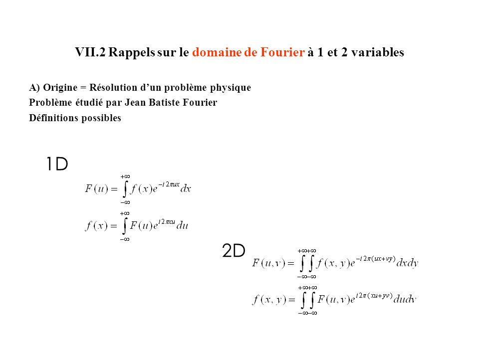 VII.2 Rappels sur le domaine de Fourier à 1 et 2 variables A) Origine = Résolution dun problème physique Problème étudié par Jean Batiste Fourier Définitions possibles 1D 2D
