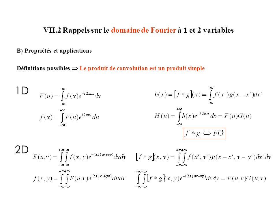 VII.2 Rappels sur le domaine de Fourier à 1 et 2 variables B) Propriétés et applications Définitions possibles Le produit de convolution est un produit simple 1D 2D