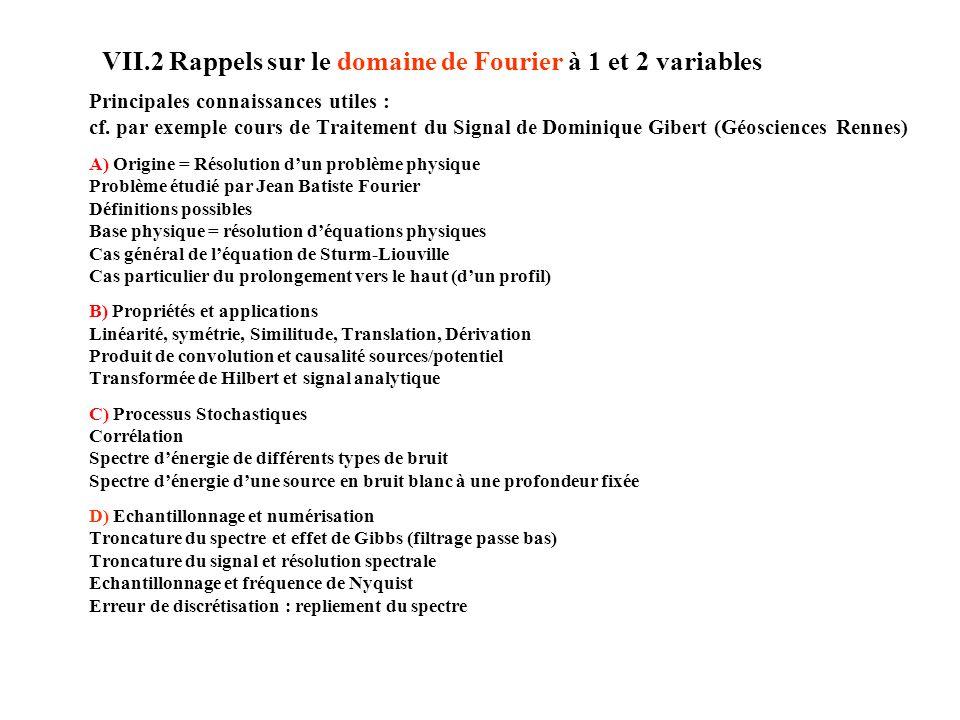 VII.2 Rappels sur le domaine de Fourier à 1 et 2 variables Principales connaissances utiles : cf.