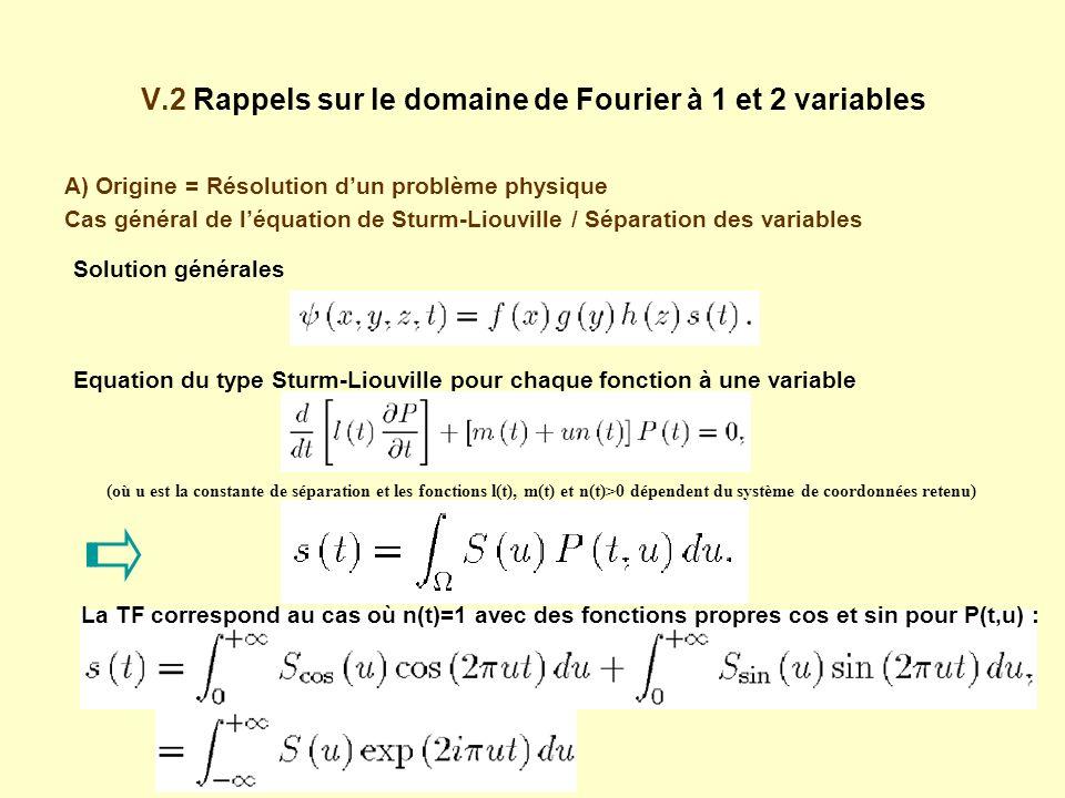 V.2 Rappels sur le domaine de Fourier à 1 et 2 variables A) Origine = Résolution dun problème physique Cas général de léquation de Sturm-Liouville / Séparation des variables Solution générales Equation du type Sturm-Liouville pour chaque fonction à une variable (où u est la constante de séparation et les fonctions l(t), m(t) et n(t)>0 dépendent du système de coordonnées retenu) La TF correspond au cas où n(t)=1 avec des fonctions propres cos et sin pour P(t,u) :