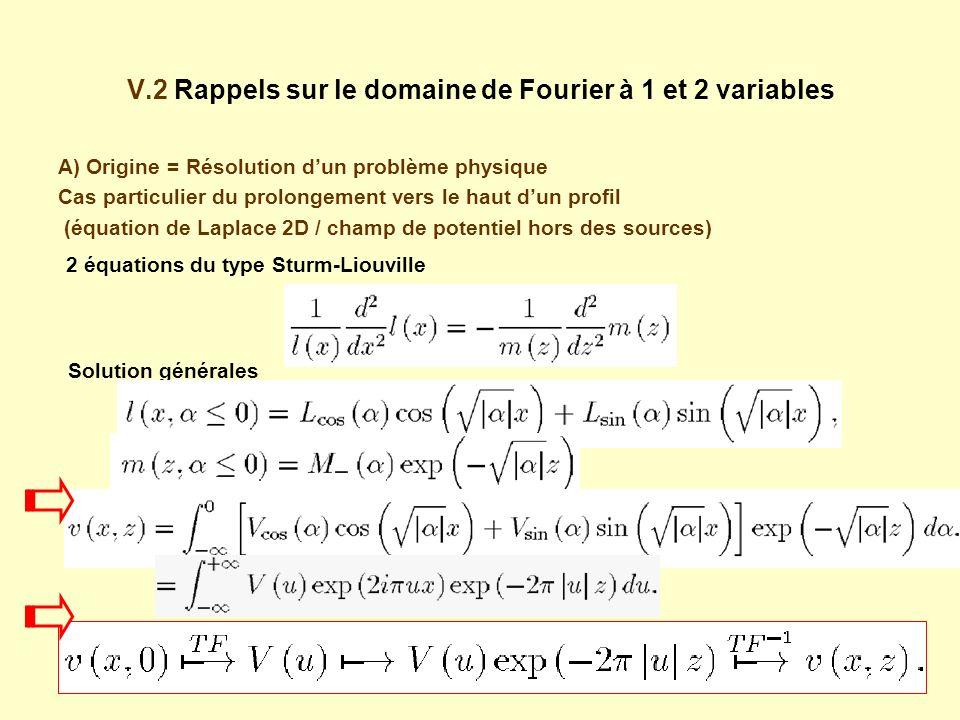V.2 Rappels sur le domaine de Fourier à 1 et 2 variables A) Origine = Résolution dun problème physique Cas particulier du prolongement vers le haut dun profil (équation de Laplace 2D / champ de potentiel hors des sources) Solution générales 2 équations du type Sturm-Liouville