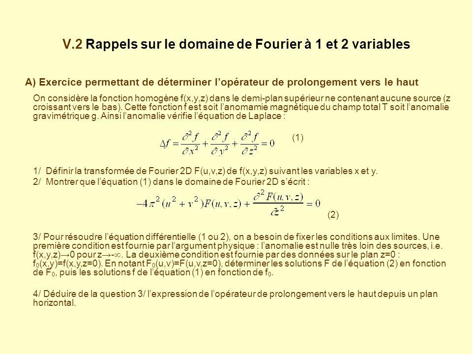 V.2 Rappels sur le domaine de Fourier à 1 et 2 variables A) Exercice permettant de déterminer lopérateur de prolongement vers le haut On considère la fonction homogène f(x,y,z) dans le demi-plan supérieur ne contenant aucune source (z croissant vers le bas).