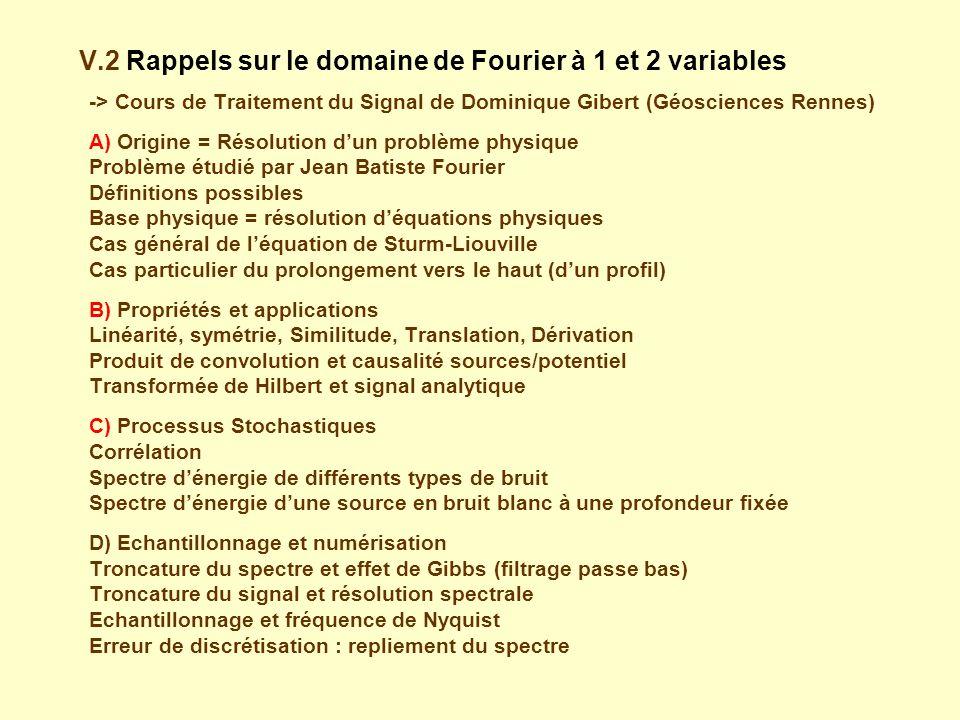 V.2 Rappels sur le domaine de Fourier à 1 et 2 variables -> Cours de Traitement du Signal de Dominique Gibert (Géosciences Rennes) A) Origine = Résolution dun problème physique Problème étudié par Jean Batiste Fourier Définitions possibles Base physique = résolution déquations physiques Cas général de léquation de Sturm-Liouville Cas particulier du prolongement vers le haut (dun profil) B) Propriétés et applications Linéarité, symétrie, Similitude, Translation, Dérivation Produit de convolution et causalité sources/potentiel Transformée de Hilbert et signal analytique C) Processus Stochastiques Corrélation Spectre dénergie de différents types de bruit Spectre dénergie dune source en bruit blanc à une profondeur fixée D) Echantillonnage et numérisation Troncature du spectre et effet de Gibbs (filtrage passe bas) Troncature du signal et résolution spectrale Echantillonnage et fréquence de Nyquist Erreur de discrétisation : repliement du spectre