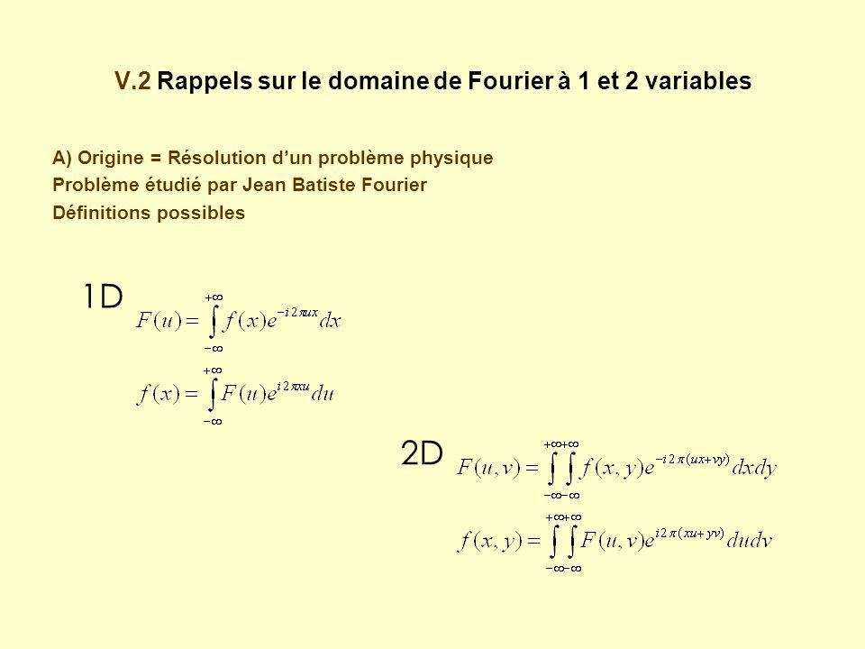 V.2 Rappels sur le domaine de Fourier à 1 et 2 variables A) Origine = Résolution dun problème physique Problème étudié par Jean Batiste Fourier Définitions possibles 1D 2D