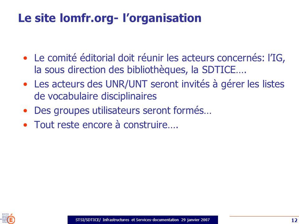 STSI/SDTICE/ Infrastructures et Services-documentation 29 janvier 2007 12 Le site lomfr.org- lorganisation Le comité éditorial doit réunir les acteurs concernés: lIG, la sous direction des bibliothèques, la SDTICE….