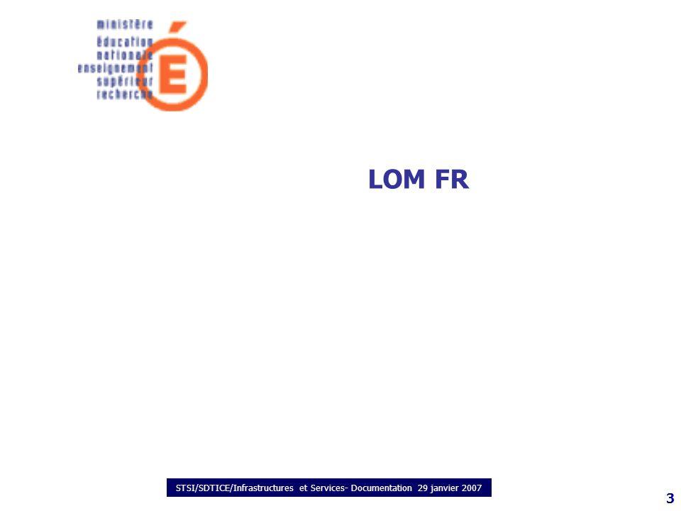 STSI/SDTICE/Infrastructures et Services- Documentation 29 janvier 2007 3 LOM FR