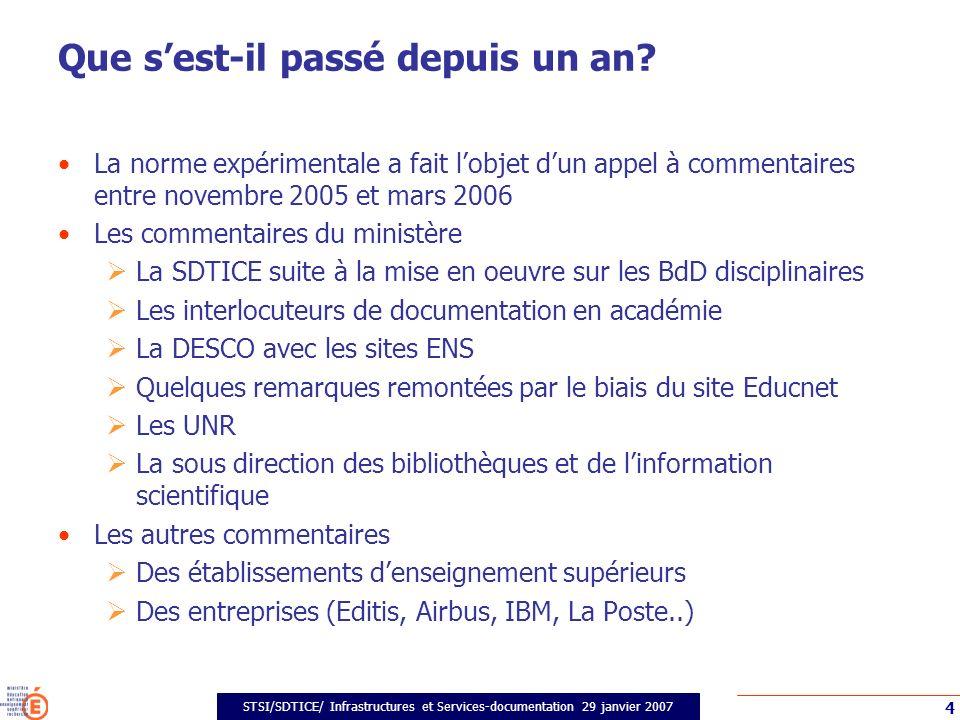 STSI/SDTICE/ Infrastructures et Services-documentation 29 janvier 2007 4 Que sest-il passé depuis un an.
