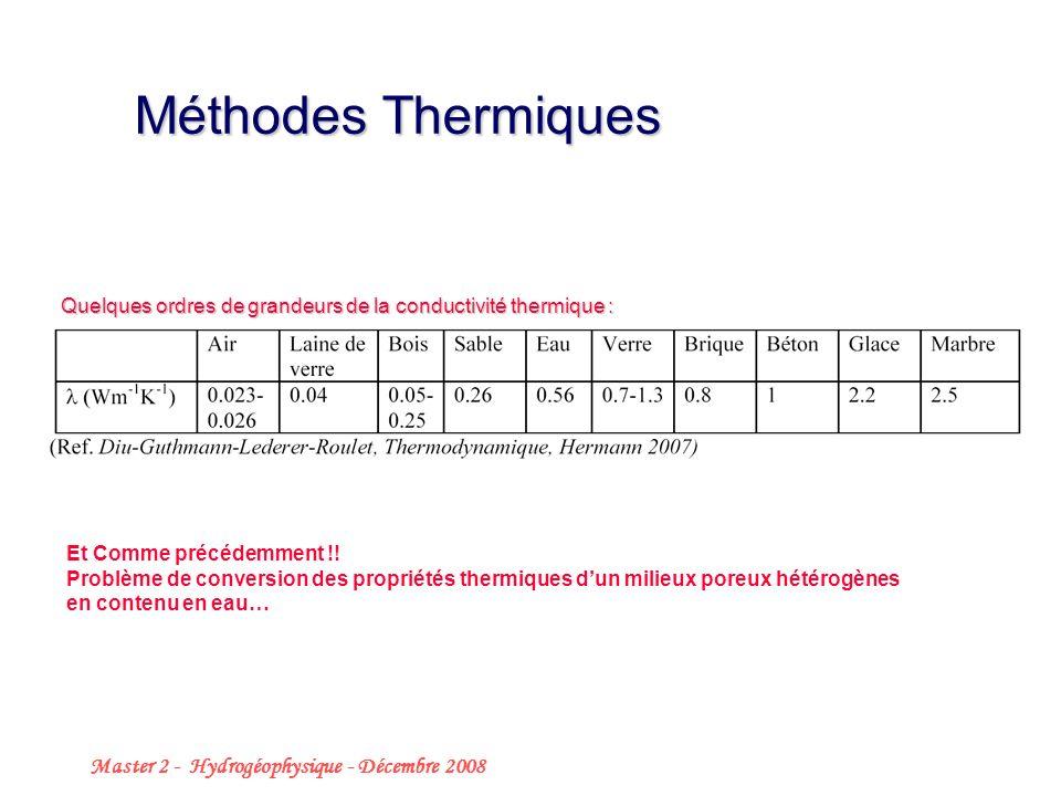 Master 2 - Hydrogéophysique - Décembre 2008 16 Quelques ordres de grandeurs de la conductivité thermique : Méthodes Thermiques Et Comme précédemment !.