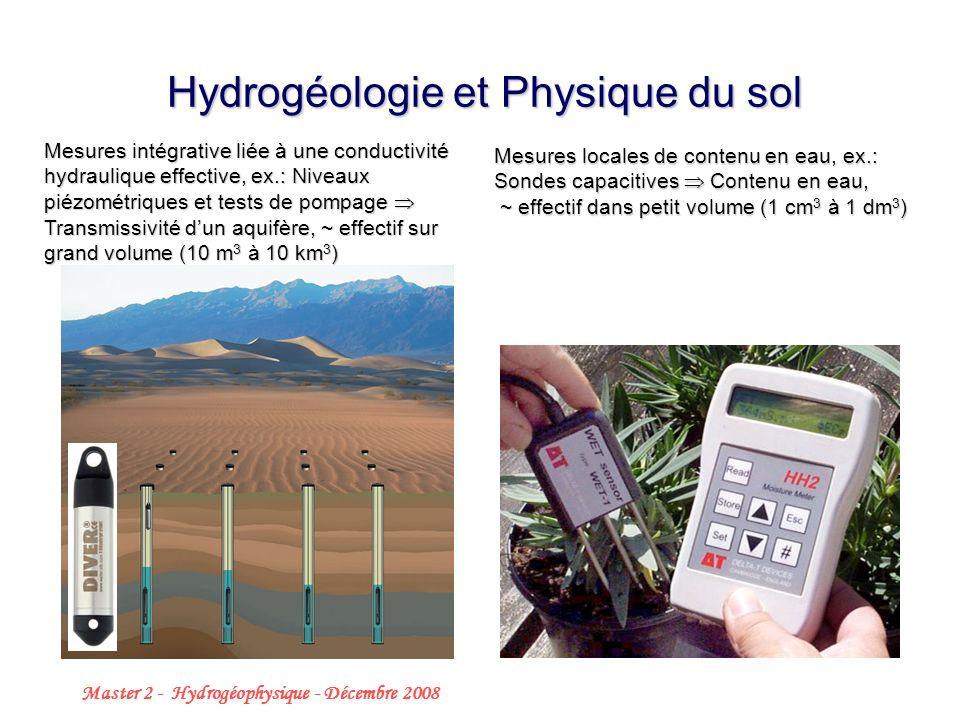 Master 2 - Hydrogéophysique - Décembre 2008 2 Hydrogéologie et Physique du sol Mesures locales de contenu en eau, ex.: Sondes capacitives Contenu en eau, ~ effectif dans petit volume (1 cm 3 à 1 dm 3 ) Mesures intégrative liée à une conductivité hydraulique effective, ex.: Niveaux piézométriques et tests de pompage Transmissivité dun aquifère, ~ effectif sur grand volume (10 m 3 à 10 km 3 )